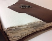 Large Watercolor Sketchbook - artist book- handmade with reclaimed leather, handmade watercolor paper.