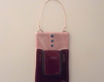 Cranberry and Pink Fused Glass Wall Pocket Vase