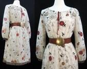 Vintage 70s 80s Dress Border Print Floral Peasant Boho Day Dress M