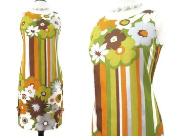 Vintage 60s Dress MOD Stripes and Floral Shift Border Print M NOS
