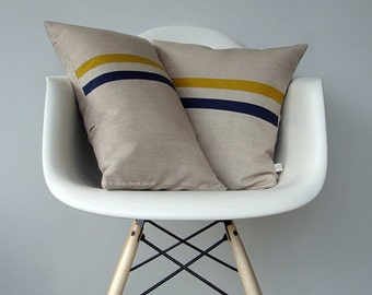 Mustard and Navy Striped Pillow Set - (12x20) and (16x16) by JillianReneDecor - Modern Home Decor - Yellow and Navy Stripes