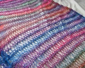Carnaval Bright Multicolour Hand Knitted Wool Mix Drop Stitch Wraparound Shawl
