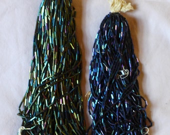 Blue and Green Tube Beads Mixed Strands