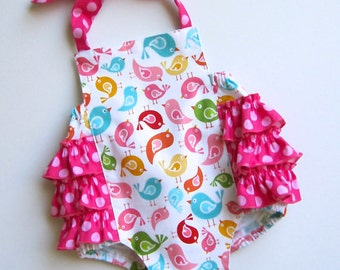 Fancy Ruffle Romper Little Birds Available sizes: Newborn - 24 months