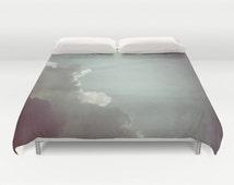 Cloud Duvet Cover, Rays of Sunshine, Decorative bedding, Ocean blue, beach, bedroom, blanket, wedding gift, dreamy, whimsical, Aqua Blue