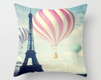 Hot Air Balloons Throw Pillow, Paris pillow, Outdoor, Patio Decorative Pillow, Eiffel Tower Cushion, Whimsy Pillow, Nursery, Whimsical, Dorm