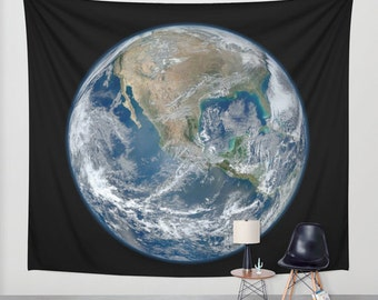 Earth from Space Wall Tapestry, Space Tapestry, World Tapestries, Black, Noir Wall Art, Nature, Home Interior, Ocean Blue Tapestry, Life Art