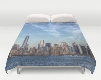New York Manhattan Duvet Cover, Decorative bedding, unique design, modern, urban comforter cover, bedroom, city landscape bedding, dorm