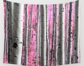 Tree Wall Tapestry, Surreal Forest Wall Art, Modern, Home, Nature, Tree Tapestry, Pink Trees Tapestry, Contemporary Art, Woods Tapestry