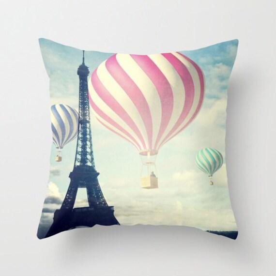Hot Air Balloons Throw Pillow, Paris pillow, Outdoor, Patio Decorative Pillow, Eiffel Tower Cushion, Whimsy,Office, Nursery, Whimsical, Dorm