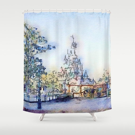 Disneyland Paris Shower Curtain, Tinkerbell Castle Bathroom, Fantasy ...