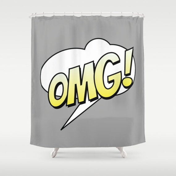 OMG! Comic Shower Curtain, Grey Bathroom, Modern Home Decor, Text Bubble Shower Curtain, Humor Shower Curtain, Cartoon Shower Curtain