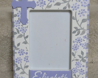 hand painted personalized first communion picture frame mackenzie lavendar shimmer