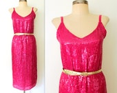 50% off Shop Sale - Sequin Dress / Silk Sequined Dress / SLINKY PINK Party Dress