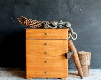Vintage Mid Century Modern Handmade Wooden Tool Chest, Cool Rustic Industrial Cube Storage Display, Drawer Cabinet