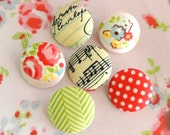 "Fabric Buttons, Small Red Green Yellow Script Music Floral Flower Fabric Covered Buttons, Small Floral Fridge Magnets, Flat Backs. 0.8 "" 6's"