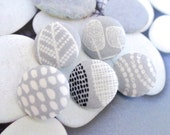 "Small Light Gray Grey Cream Black Tribal Ethnic Dots Leafs Floral Fabric Covered Buttons, Small Floral Magnets, Flat Back 0.8"" 5's"