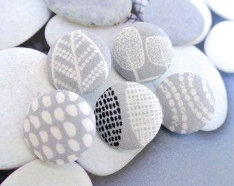 "Handmade Small Light Gray Grey Cream Black Tribal Ethnic Dots Leafs Floral Fabric Covered Buttons, Small Floral Magnets, Flat Back 0.8"" 5's"