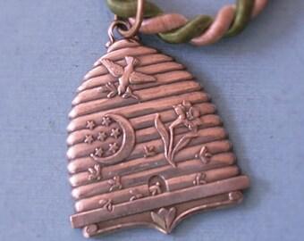 Vintage REBEKAH Lodge Fraternal Medal Pendant Bee Hive With Dove Moon Flower Vintage Odd Fellows Pendant Medal