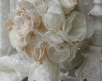 Bridal Bouquet Rustic Chic Ivory Bridal Bouquet ,Alternative Fabric Flower Bouquet, Vintage Wedding Bouquet,
