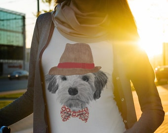 Hipster Dog Women's T-Shirt VERY FITTED