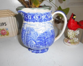 Vintage Garricks Villa at Hampton Thames River Scenes by Palsy Pottery England Pitcher Blue and White