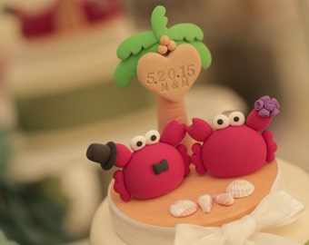 Crab  wedding cake topper---k634