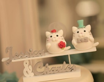 cat and kitty Wedding Cake Topper---k820