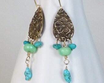 Bronze, chrysoprase and turquoise dangle Boho, Zen earrings, woodland, garden, fairy earrings, floral jewelry