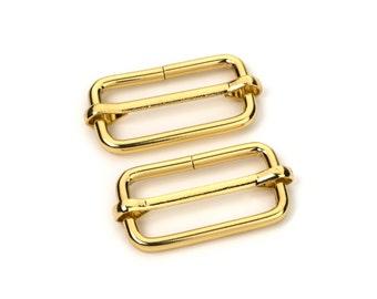 """100pcs - 1 1/4"""" Adjustable Slide Buckle - Gold - Free Shipping (SLIDE BUCKLE SBK-121)"""