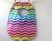 Rainbow Chevron Baby Gift - Oversize Baby Bib with Snaps