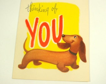 Vintage Greeting Card, Thinking of You, Dogs, Mid Century Gibson Cards, Kitsch, Kitschy, Retro, Yellow, Old Paper Ephemera, Crafts  (300-15)