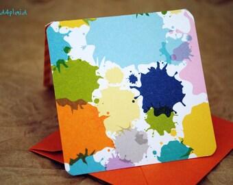 Blank Mini Card Set of 10, Paint Splotch Design with Contrasting Stripe Pattern on the Inside, Orange Metallic Envelopes, mad4plaid