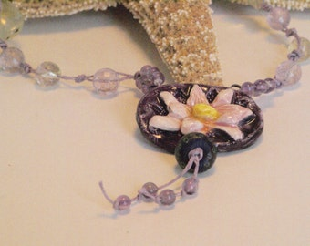 Floral Necklace, Lotus Flower Necklace, Amethyst Statement Necklace, Purple Yoga Necklace, Boho Purple Necklace, Yoga Jewelry, Gift for Her