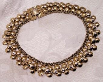 Vintage Goldtone Cleopatra Style Heavy Choker Necklace (J123)