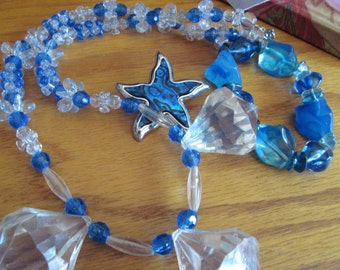 blue with clear beads plus