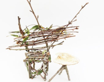 Fairy Chair, Fae Furniture, Rustic Wild Miniature Chair for your Faerie Garden or Display, Primitive Twig Chair