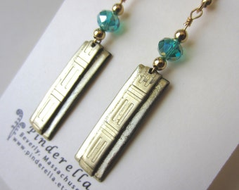 Modern two tone gold Rectangular Earrings with seafoam green multi faceted beads
