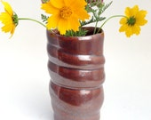 Coppery Red Swirl Stoneware Vase