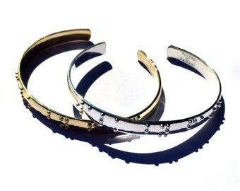 Walk by Faith Silver Braille plated and Gold plated cuff bracelets