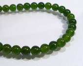 Dark Green Jade Smooth Round Gemstone Beads.....6mm....12 Beads