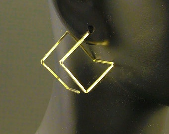 Gold Earrings Modern Gold Earrings Square Gold Earrings Simple Gold Earrings Contempory Gold Hoop Earrings Artisan Everyday Different