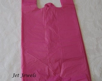 Plastic Bags, T- Shirt Bags, Pink Bags, Pink t- Shirt Bags, Hot Pink Bags, Bags with Handles, Shopping Bags, Merchandise Bags 7x16 Pack 100