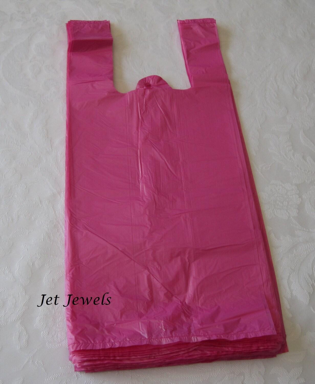 50 plastic bags pink bags hot pink bags tshirt bags tee for Custom plastic t shirt bags