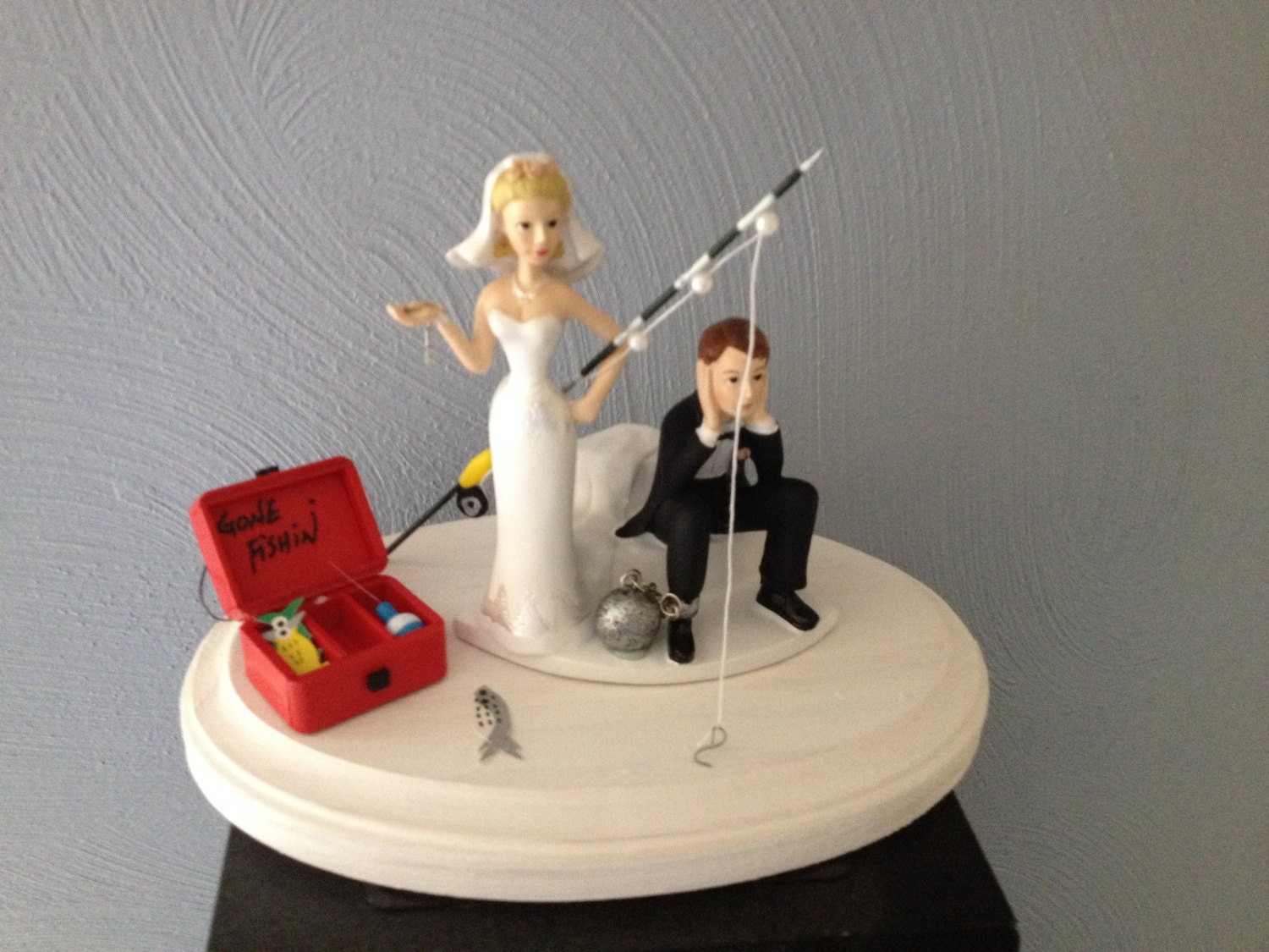 Wedding cake topper ball and chain key funny humorous going for Fishing cake toppers