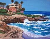 """Original La Jolla Seascape with cliffs 22"""" x 28"""" on canvas Vivid Color  Linda Kelly"""