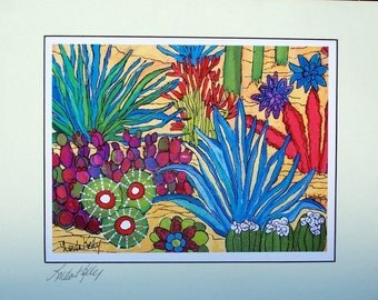 Print of my Original painting of Cactus Bliss with signed matt  Linda Kelly