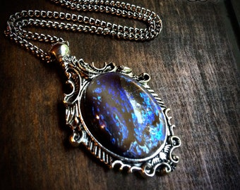 Smoky Fire Opal Necklace - Gothic Necklace - Mexican Fire Opal - Victorian Jewelry - Gothic Jewelry