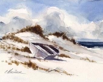 "Sand Dunes - Original Watercolor Painting - 7.25""x12"""