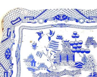 50's Tin litho Toy Tea Tray Blue Willow by Ohio Art.
